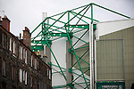 Hibernian 3 Alloa Athletic 0, 12/09/2015. Easter Road stadium, Scottish Championship. Traditional tenements and the Famous Five stand at Easter Road stadium before the Scottish Championship match between Hibernian and visitors Alloa Athletic. The home team won the game by 3-0, watched by a crowd of 7,774. It was the Edinburgh club's second season in the second tier of Scottish football following their relegation from the Premiership in 2013-14. Photo by Colin McPherson.