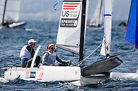 20140331, Palma de Mallorca, Spain: SOFIA TROPHY 2014 - 850 sailors from 50 countries compete at the ISAF Sailing World Cup event. Nacra17 - USA038 - Robert Daniel / Catherine Shanahan. Photo: Mick Anderson/SAILINGPIX