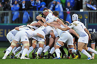 Henry Thomas of Bath Rugby in action at a scrum. European Rugby Champions Cup match, between Bath Rugby and Leinster Rugby on November 21, 2015 at the Recreation Ground in Bath, England. Photo by: Patrick Khachfe / Onside Images