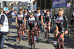 UAE-Emirates team head to sign on before the start of Gent-Wevelgem in Flanders Fields 2017, running 249km from Denieze to Wevelgem, Flanders, Belgium. 26th March 2017.<br /> Picture: Eoin Clarke | Cyclefile<br /> <br /> <br /> All photos usage must carry mandatory copyright credit (&copy; Cyclefile | Eoin Clarke)