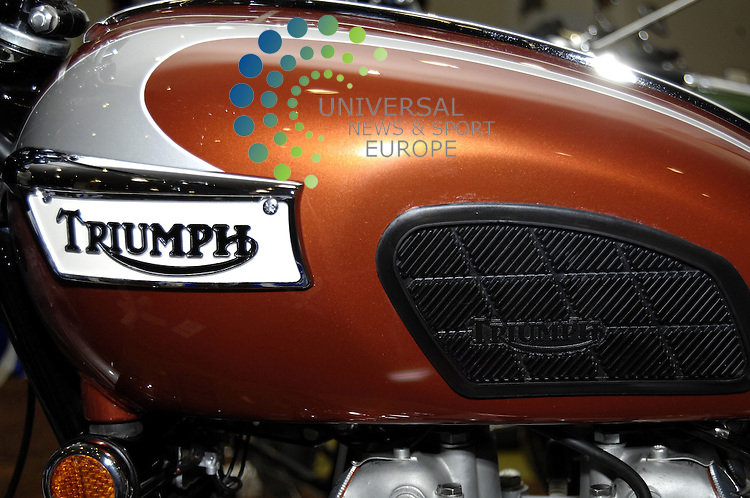 Ayr Racecourse, Ayr...3/6/12..The petrol tank of a Triumph Bonneville that was on display to-day at the Scottish Classic Motorcycle Show in Ayr...