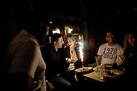 Beirut , Lebanon 20081026 - Friends gather on Friday evening in a bar in the christian part Gemmayzeh in Beirut. Happy birthday cake. Photo/copyright: Torbjorn Gronning