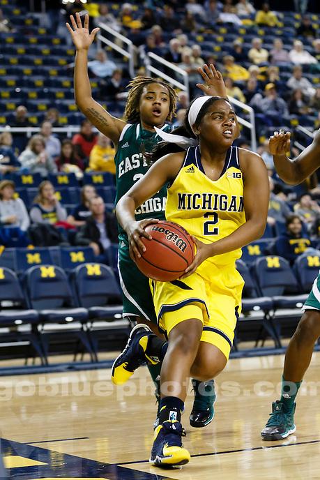 The University of Michigan women's basketball team played Eastern Michigan University on Dec. 11, 2013, at Crisler Center in Ann Arbor, Mich.