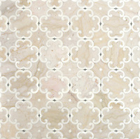 Hercule, a natural stone waterjet mosaic shown in Cloud Nine, Thassos and Ming Green, is by Sara Baldwin for New Ravenna Mosaics.<br />