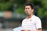 24 August 2014: Stanford assistant coach Hideki Nakada. The Duke University Blue Devils played the Stanford University Cardinal at Fetzer Field in Chapel Hill, NC in a 2014 NCAA Division I Women's Soccer match. Stanford won the game 2-0.