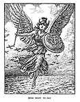 From Night to Day. (the winged goddess of the RAF switches from night to day raids in retaliation of German bombing raids)