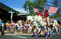 The annual Fourth of July Makawao Rodeo Parade in the upcountry town of Makawao; Maui's cowboy or paniolo town got its start in the early 1800s as a support community for the upcountry cattle ranches.