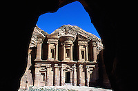 "Jordan. Petra. The archeological site is part of the UNESCO world heritage project.  The Nabataeans were an arabian industrious tribe which settled down in southern Jordan 2000 years ago. Petra is located at the bottom of a spectacular deep gorge surrounded by mountains.  "" Al-Dayr"" monastery. Its high façade is carved in the rocks. © 2002 Didier Ruef"