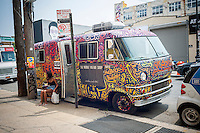 The converted van of the Mobile Vintage Shop in the Bushwick neighborhood in Brooklyn in New York on Saturday, June 4, 2016. The neighborhood has undergone gentrification changing from a rough and tumble mix of Hispanic and industrial to a haven for hipsters. (© Richard B. Levine)