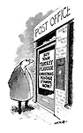 """(A man standing outside a Post Office reads a sign saying """"Buy your turkey flavoured Christmas postage stamps now!"""")"""