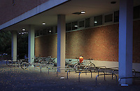 Bicycle parking at night, outside the Kunstbewerbemuseum or Museum of Decorative Arts, at the Kulturforum, Berlin, Germany. Picture by Manuel Cohen