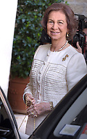 Queen Sofia,Pope Francis   during a meeting Spain's King Juan Carlos  and Queen Sofia  at the end of their private audience at the Vatican. on April 28, 2014