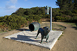 The Dog Line at Eaglehawk Neck, Tasman Peninsula, marking the isthmus where snarling hounds were kept to deter convicts from escaping from the prison colony at Port Arthur - unlike bushranger Martin Cash, from Enniscorth, Wexford, Ireland, who escaped twice!....