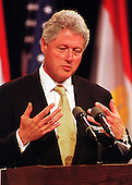 Washington, DC - July 1, 1999 -- United States President Bill Clinton emphasizes a point during his joint press conference with President Hosni Mubarak of Egypt on 1 July, 1999.  The two leaders met for more than two hours in the Oval Office and over lunch in the White House residence.  .Credit: Ron Sachs / CNP