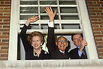 Mrs Maggie Margaret Thatcher Central Office celebration after victory at the General Election 1983. London Uk. Mrs Thatcher with Denis, and Cecil Parkinson.