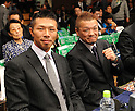 (L-R) Takashi Uchiyama, Katsushige Kawashima, OCTOBER 24, 2011 - Boxing : WBA super featherweight champion Takashi Uchiyama of Japan is seen with retired professional boxer Katsushige Kawashima in the broadcast booth before the WBA minimumweight title bout at Korakuen Hall in Tokyo, Japan. (Photo by Mikio Nakai/AFLO)