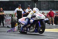 Jun. 3, 2012; Englishtown, NJ, USA: NHRA pro stock motorcycle rider Hector Arana Jr during the Supernationals at Raceway Park. Mandatory Credit: Mark J. Rebilas-