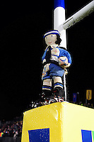 A Bath / Bristol mascot sits on the goal posts. Aviva Premiership match, between Bath Rugby and Bristol Rugby on November 18, 2016 at the Recreation Ground in Bath, England. Photo by: Patrick Khachfe / Onside Images