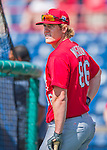 13 March 2016: St. Louis Cardinals infielder Patrick Wisdom, ranked the 22nd Top Prospect in the Cardinals organization for 2016 by MLB, awaits his turn in the batting cage prior to a pre-season Spring Training game against the Washington Nationals at Space Coast Stadium in Viera, Florida. The teams played to a 4-4 draw in Grapefruit League play. Mandatory Credit: Ed Wolfstein Photo *** RAW (NEF) Image File Available ***