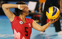 Toronto, Ontario, August 14, 2015. Canadian women compete in the Sitting volleyball  during the 2015 Parapan Am Games . Photo Scott Grant/Canadian Paralympic Committee