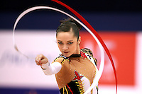 Anna Bessonova of Ukraine waves with ribbon routine at 2006 Aeon Cup Worldwide Clubs Championships in rhythmic gymnastics on November 19, 2006 at Mie, Japan.<br />
