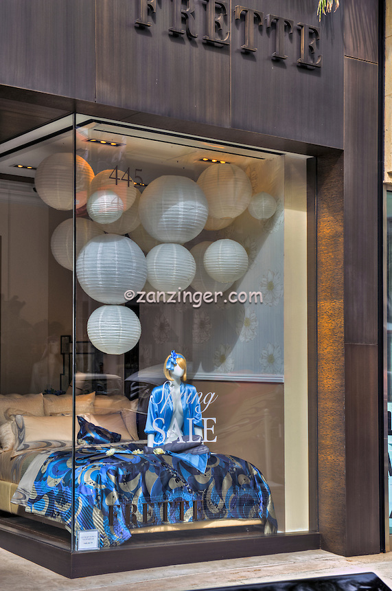 FRETTE,Decorative Bedding,  Rodeo Drive, Beverly Hills, CA, Luxury Shopping, Window Display, , Vertical image