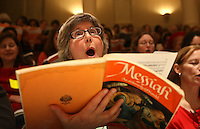 "Meg Sandridge of Richmond participates in the 40th annual ""messiah"" sing-in started by conductor Donald Loach in 1968.  Photo/The Daily Progress/Andrew Shurtleff"