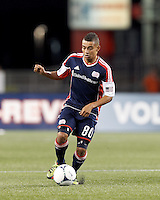 New England Revolution midfielder Fernando Cardenas (80) brings the ball forward. In a Major League Soccer (MLS) match, the New England Revolution tied Philadelphia Union, 0-0, at Gillette Stadium on September 1, 2012.
