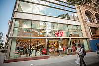 New H&M department store in Downtown Brooklyn in New York on Sunday, September 29, 2013. The area has been for years a middle and lower economic shopping strip but because of increased development in the area, notably hi-rise luxury apartment buildings, chain stores and high-end retailers are moving in. Rents are rising and the smaller mom and pop stores, as well as regional chains are being forced out.  (© Richard B. Levine)