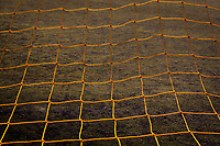 An abstract pulled from a soccer goal's net by drawing on the lines and shapes in the net's detail.