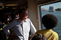 Democratic mayoral candidate Bill de Blasio and his son Dante rides the Staten Island ferry in New York September 4, 2013 by Kena Betancur / VIEWpress