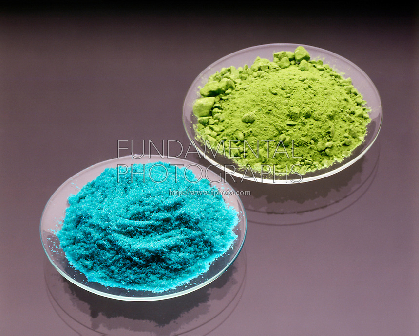 CUPRIC CHLORIDE (blue) &amp; CUPROUS CHLORIDE (green)<br /> Copper Forms 2 Compounds With Chlorine<br /> Copper I Chloride, CuCl (Cuprous -green) &amp; Copper II Chloride, CuCl2 (Cupric -blue). Cuprous chloride is a white crystal that converts to a green oxygenated compound.