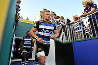 Max Northcote-Green of and the rest of the Bath Rugby team run out onto the field. West Country Challenge Cup match, between Bath Rugby and Gloucester Rugby on September 26, 2015 at the Recreation Ground in Bath, England. Photo by: Patrick Khachfe / Onside Images