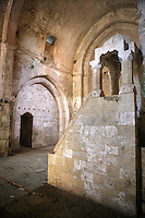 Stone minbar added when Mamluk Sultan Baybars converted the chapel into a mosque in 1271, Krak des Chevaliers, Qala'at al Husn, Crusader castle, 1110-1271, Homs Gap, Syria Picture by Manuel Cohen