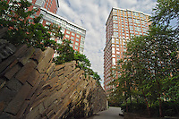 Teardrop Park, Downtown Manhattan, in Battery Park City  designed by Michael Van Valkenburgh Associates, Manhattan, New York City, New York, USA