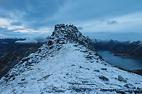 Summit of Persatind with dusting of autumn snow, Gimsøy, Lofoten Islands, Norway