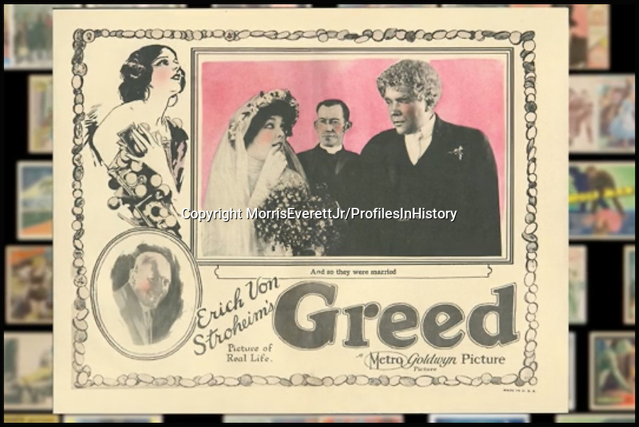 BNPS.co.uk (01202 558833)<br /> PIc: MorrisEverettJr/ProfilesInHistory/BNPS<br /> <br /> ***Please Use Full Byline***<br /> <br /> Greed (1924). <br /> <br /> The world's largest collection of movie posters boasting artwork from almost every single film made in the last century has emerged for sale for &pound;5 million.<br /> <br /> The colossal archive features 196,000 posters from more than 44,000 films, and has been singlehandedly pieced together by one avid collector over the last 50 years.<br /> <br /> Morris Everett Jr has dedicated his life's work to seeking out original posters from every English-speaking film ever made and compiling them into a comprehensive library.<br /> <br /> The sale is tipped to make $8 million - around &pound;5 million pounds - when it goes under the hammer in one lot at Califonia saleroom Profiles in History on December 17.