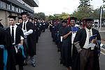 BLOEMFONTEIN, SOUTH AFRICA APRIL 17, 2013: Students line up to attend their graduation ceremony at the University of the Free State in Bloemfontein, South Africa. Races are mixing more but often they socialize with their own kind. Photo by: Per-Anders Pettersson