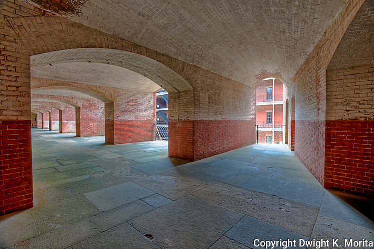 Interior view of Fort Point at the foot of the Golden Gate Bridge.