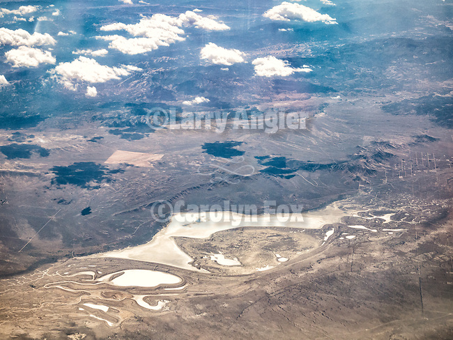 Carrizo Plain, Soda Lake, California Valley, aerial from a window seat on a flight from Istanbul, Turkey, to Los Angeles, California.
