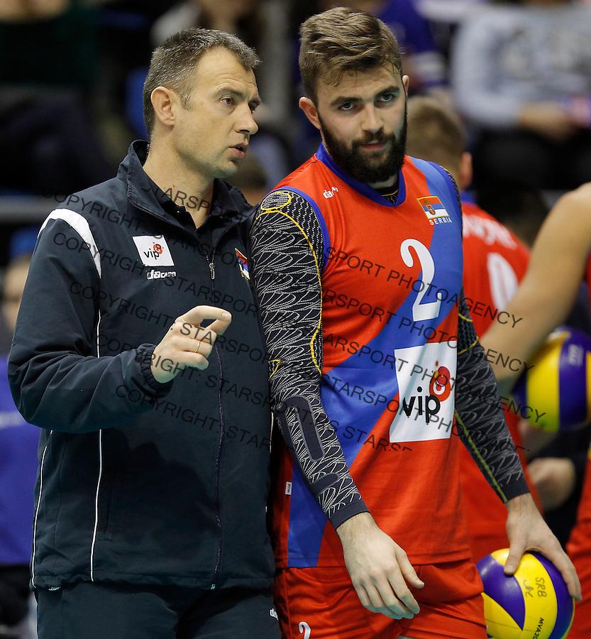 Odbojka Volleyball<br /> Srbija v Bugarska-Prijateljski mec<br /> Head coach Nikola Grbic and Uros Kovacevic<br /> Beograd, 29.12.2015.<br /> foto: Srdjan Stevanovic/Starsportphoto &copy;