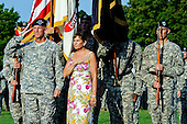 United States Army General Stanley A. McChrystal and wife Annie salutes the playing of the national anthem during his retirement ceremony on Fort McNair in Washington, D.C. Friday, July 23, 2010. .Mandatory Credit: Jerry Morrison - U.S. Army via CNP