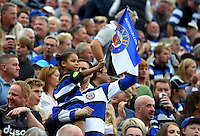 A general view of a young Bath fan in the crowd showing her support. Aviva Premiership match, between Bath Rugby and Worcester Warriors on September 17, 2016 at the Recreation Ground in Bath, England. Photo by: Joseph Meredith / JMP for Onside Images