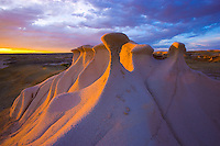 Delicate rock forms at sunset .Bisti Wilderness, New Mexico.Finely balanced rock  .Badlands area near Farmington.BLM wildernesss