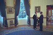 United States President George W. Bush talks privately with Prime Minister Tony Blair of Great Britain in the Blue Room of the White House in Washington, D.C. on Thursday, September 20, 2001..Mandatory Credit: Eric Draper - White House via CNP.