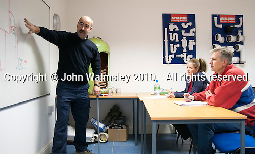 Plumbing students in the classroom, Able Skills, Dartford, Kent.