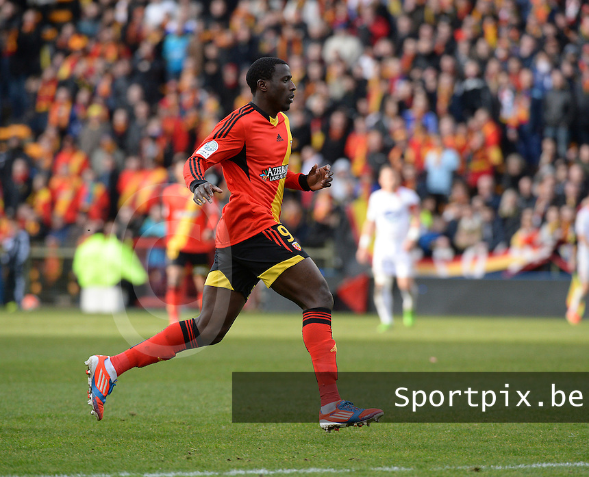20140201 - LENS , FRANCE : RC Lens's Adamo Coulibaly pictured during the soccer match between Racing Club de LENS and Stade Lavallois , on the twenty second matchday in the French Ligue 2 at the Stade Bollaert Delelis stadium , Lens . Saturday 1st February 2014. PHOTO DAVID CATRY