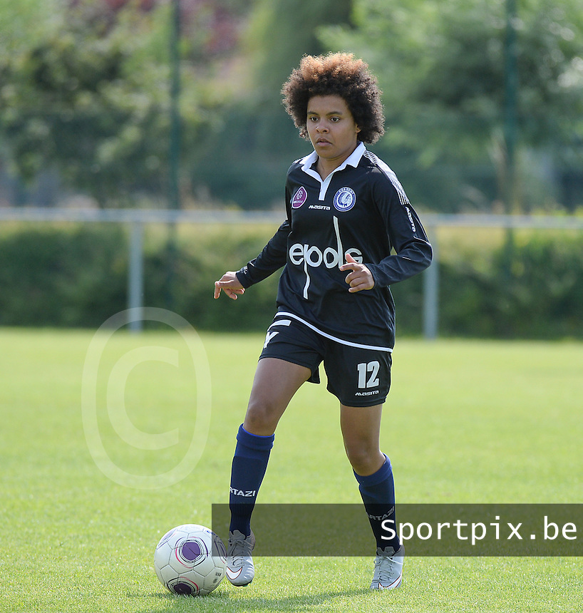 20150801 - WESTKAPELLE , BELGIUM : Gent's Kassandra Ndoutou Eboa Missipo pictured during a friendly soccer match with the women team of AA Gent Ladies , during the preparation for the 2015-2016 SUPERLEAGUE season, Saturday 1 August 2015 . PHOTO DAVID CATRY