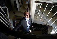 Shane Gallagher, construction manager at the Architect of the Capitol, poses inside the newly-restored Capitol dome at the US Capitol in Washington, DC, November 15, 2016. <br /> Credit: Olivier Douliery / Pool via CNP /MediaPunch