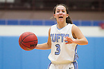 11/22/2011- Medford, Mass. - Tufts guard Kelsey Morehead, A15, runs the point in Tufts 73-57 win over Colby-Sawyer at Cousens Gym on Nov. 22, 2011. (Kelvin Ma/Tufts University)